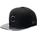 Front view of New Era Chicago Cubs MLB Twist Trick Snapback Hat in Black/Multi