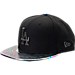 Front view of New Era Los Angeles Dodgers MLB Twist Trick Snapback Hat in Black/Multi
