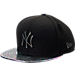 Front view of New Era New York Yankees MLB Twist Trick Snapback Hat in Black/Multi
