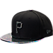 Front view of New Era Pittsburgh Pirates MLB Twist Trick Snapback Hat in Black/Multi