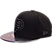 Front view of New Era Indiana Pacers NBA Trick Slick Snapback Hat in Black