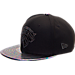 Front view of New Era New York Knicks NBA Trick Slick Snapback Hat in Black
