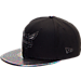 Front view of New Era Charlotte Hornets NBA Trick Slick Snapback Hat in Black