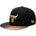 Front view of New Era Chicago Bulls NBA Shimmer Fade Snapback Hat in Black/Gold