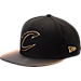 Front view of New Era Cleveland Cavaliers NBA Shimmer Fade Snapback Hat in Black/Gold