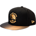 Front view of New Era Golden State Warriors NBA Shimmer Fade Snapback Hat in Black/Gold