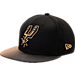 Front view of New Era San Antonio Spurs NBA Shimmer Fade Snapback Hat in Black/Gold