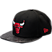 Front view of New Era Chicago Bulls NBA Pebble Adjustable Back Hat in Black