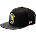 Front view of New Era Golden State Warriors NBA Pebble Adjustable Back Hat in Black