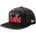 Front view of New Era Chicago Bulls NBA Rugged Mark Snapback Hat in Black