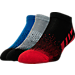 Front view of Men's Sof Sole Low Cut Striped Socks- 3-Pack in RED