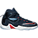 Right view of Boys' Preschool Nike LeBron 13 Basketball Shoes in Midnight Navy/Uni Red