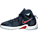 Left view of Boys' Preschool Nike LeBron 13 Basketball Shoes in Midnight Navy/Uni Red