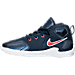 Left view of Boys' Toddler Nike LeBron 13 Basketball Shoes in Midnight Navy/Red/White