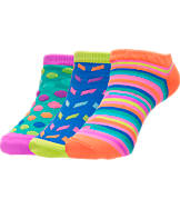 Girls' Finish Line No-Show 3-Pack Socks