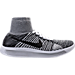 Right view of Women's Nike Flyknit LunarEpic Running Shoes in White/Black