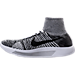 Left view of Women's Nike Flyknit LunarEpic Running Shoes in White/Black