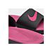 Front view of Girls' Grade School Nike Kawa Slide Sandals in Black/Vivid Pink