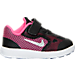 Right view of Girls' Toddler Nike Revolution 3 Running Shoes in Black/Metallic Silver/Pink