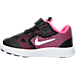 Left view of Girls' Toddler Nike Revolution 3 Running Shoes in Black/Metallic Silver/Pink