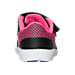 Back view of Girls' Toddler Nike Revolution 3 Running Shoes in Black/Metallic Silver/Pink