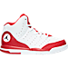 Right view of Boys' Preschool Jordan Flight Tradition Basketball Shoes in White/Black/Gym Red