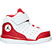 Right view of Boys' Toddler Jordan Flight Tradition Basketball Shoes in White/Black/Gym Red