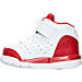 Left view of Boys' Toddler Jordan Flight Tradition Basketball Shoes in White/Black/Gym Red