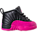 Right view of Girls' Toddler Air Jordan Retro 12 Basketball Shoes in Black/Deadly Pink/Metallic Silver