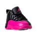 Three Quarter view of Girls' Toddler Air Jordan Retro 12 Basketball Shoes in Black/Deadly Pink/Metallic Silver