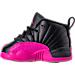 Left view of Girls' Toddler Air Jordan Retro 12 Basketball Shoes in Black/Deadly Pink/Metallic Silver