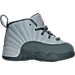 Right view of Girls' Toddler Jordan Retro 12 Basketball Shoes in Wolf Grey/Vivid Pink/Cool Grey