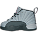 Left view of Girls' Toddler Jordan Retro 12 Basketball Shoes in Wolf Grey/Vivid Pink/Cool Grey