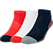Front view of Men's Sof Sole Space Dye 3-Pack Low-Cut Socks in Navy/Red/Yellow
