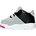 Left view of Girls' Toddler Jordan Flight Origin 3 Basketball Shoes in Wolf Grey/Vivid Pink/Black