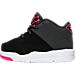 Left view of Girls' Toddler Jordan Flight Origin 3 Basketball Shoes in Black/Vivid Pink/Anthracite