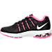 Left view of Girls' Grade School Nike Air Max Dynasty Running Shoes in Black/Metallic Silver/Hyper Pink
