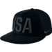 Front view of Nike Team USA Perforated Snapback Hat in Black