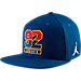 Front view of Air Jordan 7 92 Retro Snapback Hat in Deep Royal Blue/Fire Red