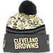 Front view of New Era Cleveland Browns NFL 2016 Salute To Service Knit Hat in Camo/Team Colors