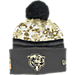 Front view of New Era Chicago Bears NFL 2016 Salute To Service Knit Hat in Camo/Team Colors