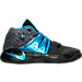 Right view of Boys' Preschool Nike Kyrie 2 Basketball Shoes in Black/Blue Glow/Anthracite