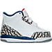 Right view of Boys' Toddler Air Jordan Retro 3 Basketball Shoes in White/Fire Red/True Blue/Grey