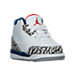 Three Quarter view of Boys' Toddler Air Jordan Retro 3 Basketball Shoes in White/Fire Red/True Blue/Grey