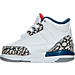 Left view of Boys' Toddler Air Jordan Retro 3 Basketball Shoes in White/Fire Red/True Blue/Grey