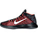 Left view of Men's Nike Zoom Ascention Basketball Shoes in Black/White/Bright Crimson/Black