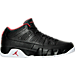 Right view of Men's Air Jordan Retro 9 Low Basketball Shoes in Black/Gym Red/White