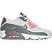 Right view of Girls' Grade School Nike Air Max 90 Leather Running Shoes in Pure Platinum/Cool Grey/Lava Glow