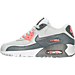 Left view of Girls' Grade School Nike Air Max 90 Leather Running Shoes in Pure Platinum/Cool Grey/Lava Glow