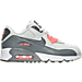 Right view of Girls' Preschool Nike Air Max 90 Leather Running Shoes in Pure Platinum/Cool Grey/Lava Glow